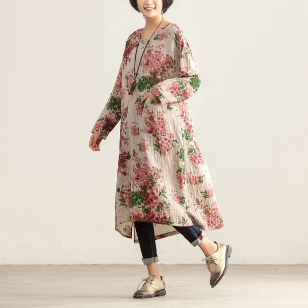 Loose V Neck Floral Printing Long Sleeve Women Dress - Buykud