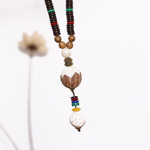 Wooden Retro Beaded Ethnic Lotus Women Necklaces - Buykud