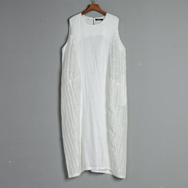 Summer Pockets Sleeveless Casual White Dress