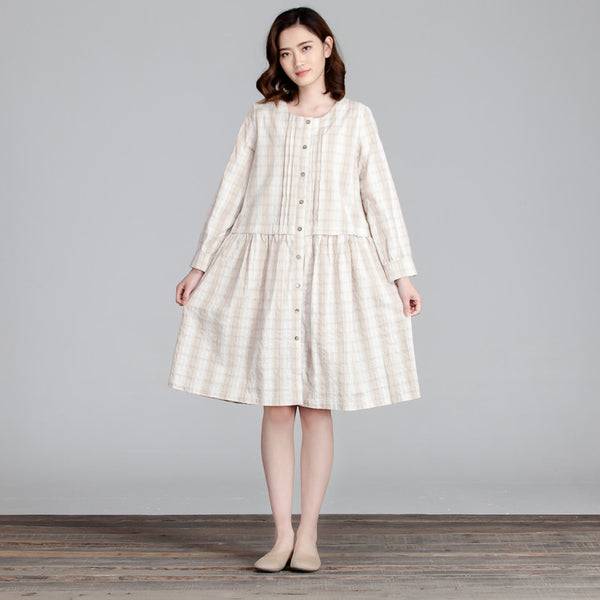 Lattice Women Cotton Splicing Loose Folded Casual White Dress - Buykud