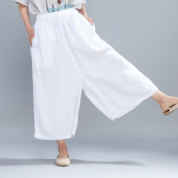Casual Women Solid White Loose Wide Leg Pants - Buykud
