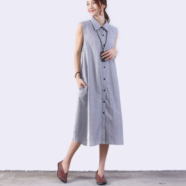 Splicing Loose Women Casual Ramie Stripe Pocket Dress - Buykud