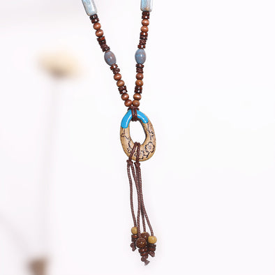 Women Retro Jewelry Ethnic Vintage Clay Necklace - Buykud