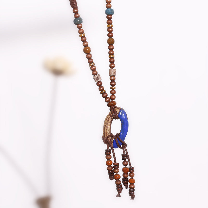 Women Retro Jewelry Vintage Clay Necklace - Buykud