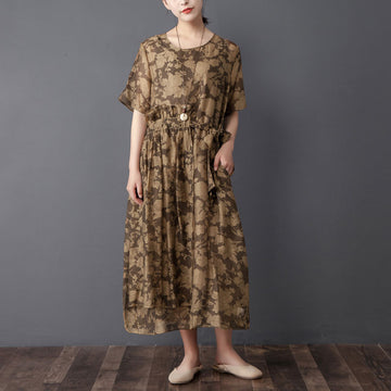 Women Two Pieces Set Short Sleeve Printed Brown Dress