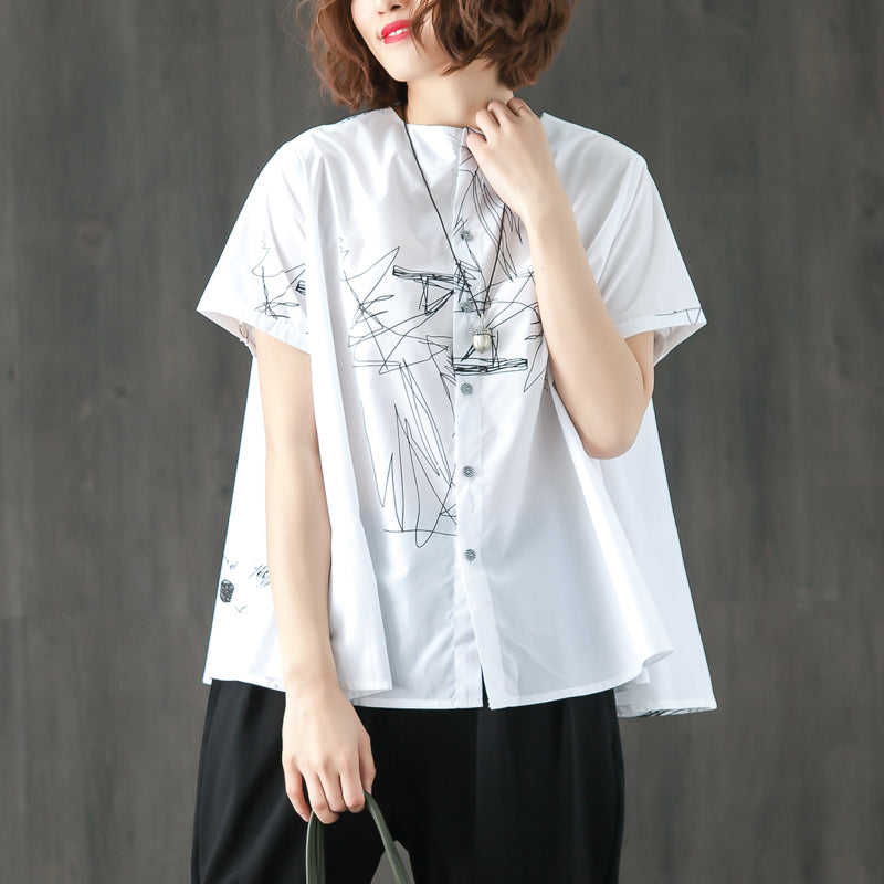 Single Breasted Short Sleeve White Summer T-shirt - Buykud