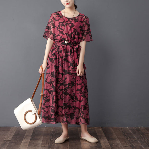 Women Two Pieces Set Short Sleeve Printed Wine Red Dress