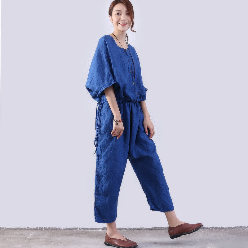 Loose Casual Women Linen Blue Rompers - Buykud