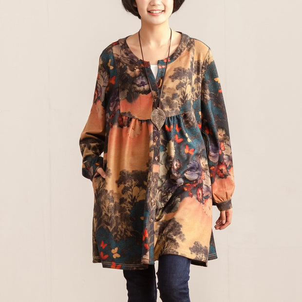 Retro Women Spring Single Breasted Long Sleeve Printing Dress - Buykud