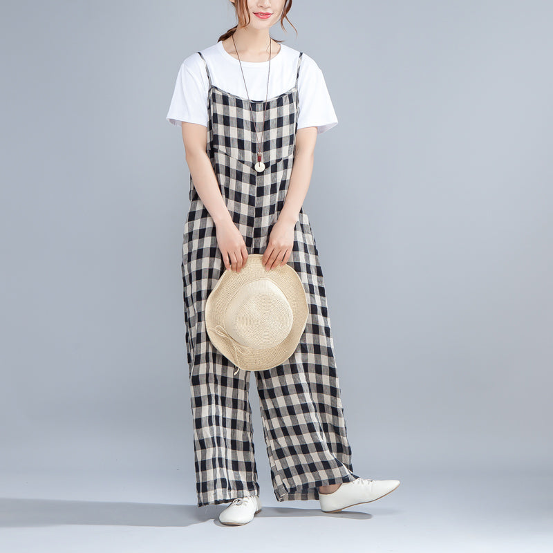 Loose Casual Black Lattice Jumpsuits Women Rompers - Buykud