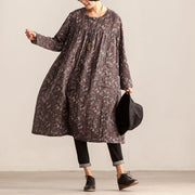 Women Retro Round Neck Long Sleeve Floral Printing Dress - Buykud