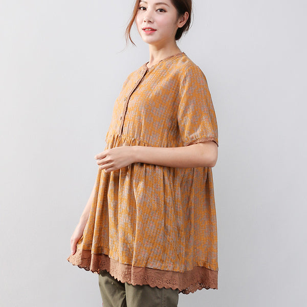 Summer Women Retro Loose Floral Shoulder Sleeves Yellow Shirt