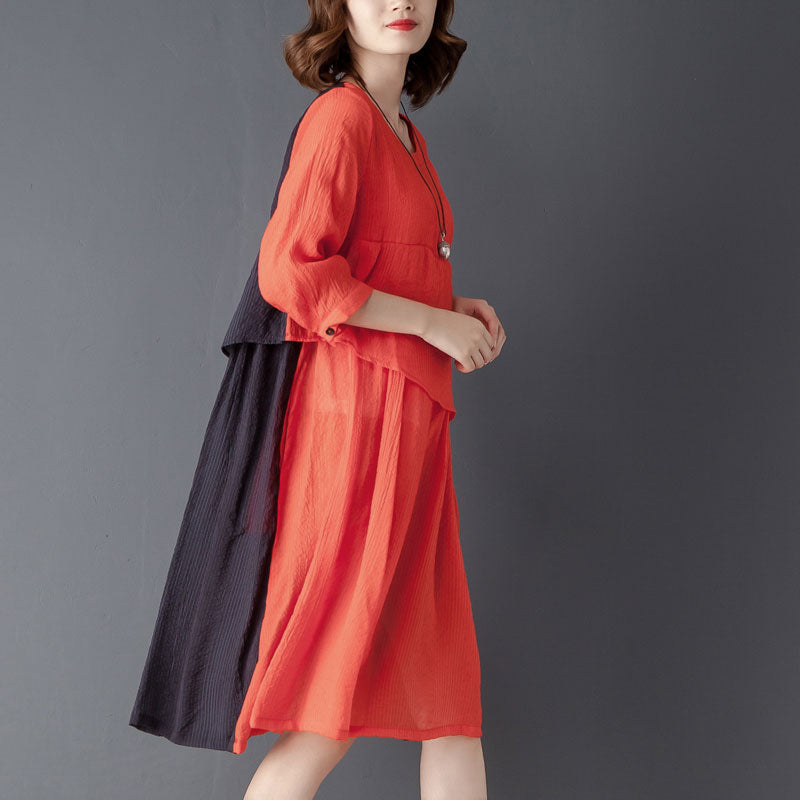 Round Neck Three Quarter Sleeve Red Knee Length Dress - Buykud