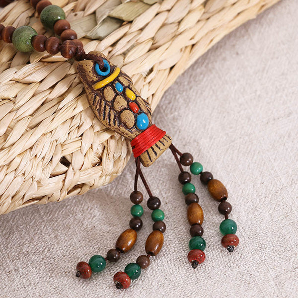 Ethnic Vintage Jewelry Wooden Women Necklace - Buykud
