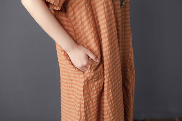 Stripe Loose Summer Women Short Sleeve Orange Dress