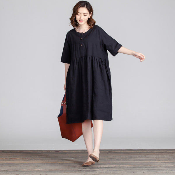 Round Neck Loose Women Casual Dress - Buykud