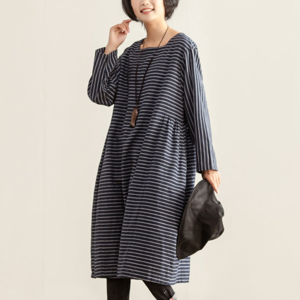 Autumn Women Square Collar Long Sleeve Stripe Dress - Buykud