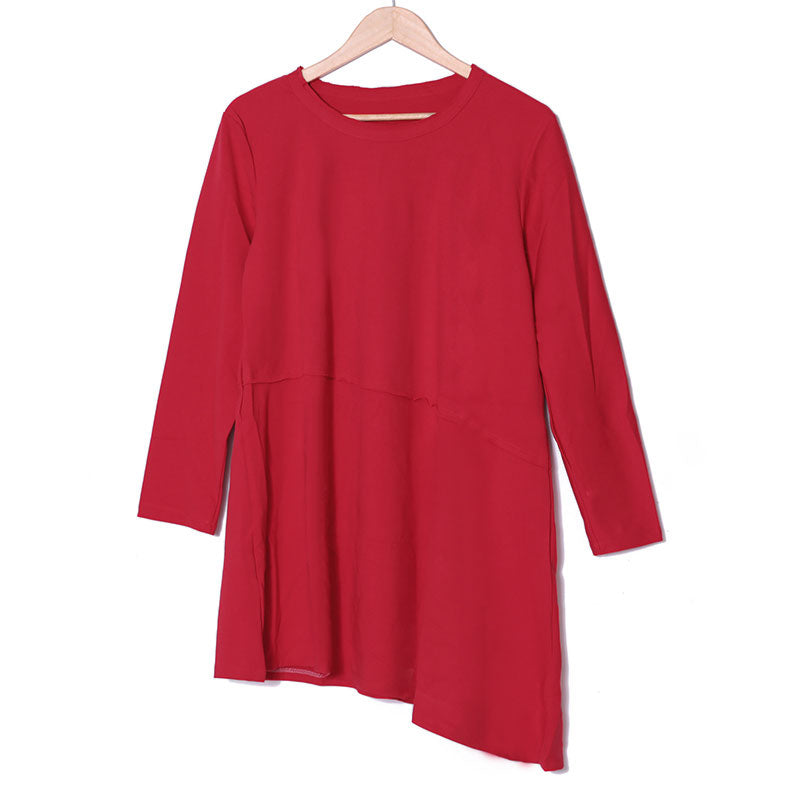 Autumn Cotton Long Sleeve Red Dress For Women - Buykud