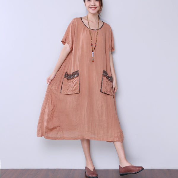 Ethnic Loose Pocket Printing Folded Coffee Dress