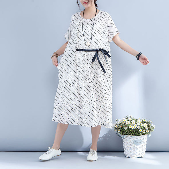 Stripe Lacing Round Neck Short Sleeve White Dress