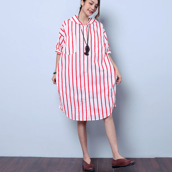 Summer Loose Casual Stripe Cotton Hooded Red Shirt Dress