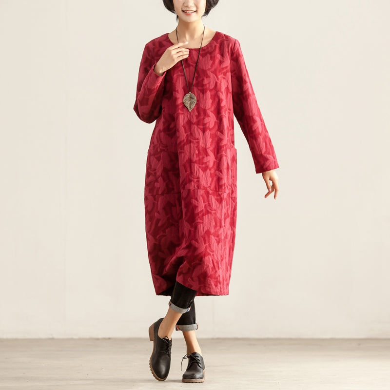 Loose Casual Round Neck Women Long Sleeve Red Dress - Buykud