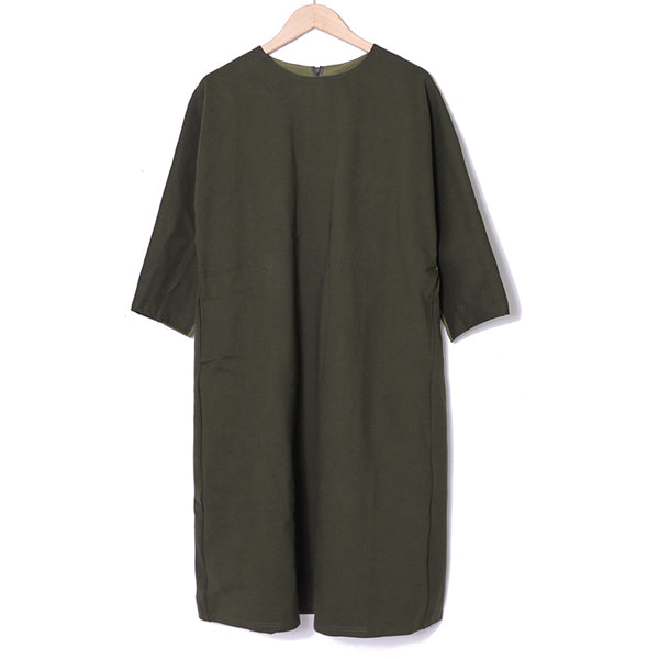 Autumn Casual Long Sleeve Round Neck Army Green Dress For Women - Buykud