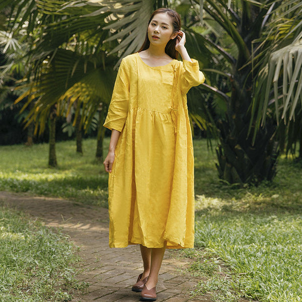 Casual Loose Linen Cotton Stylish Three Quarter Sleeves Yellow Dress - Buykud