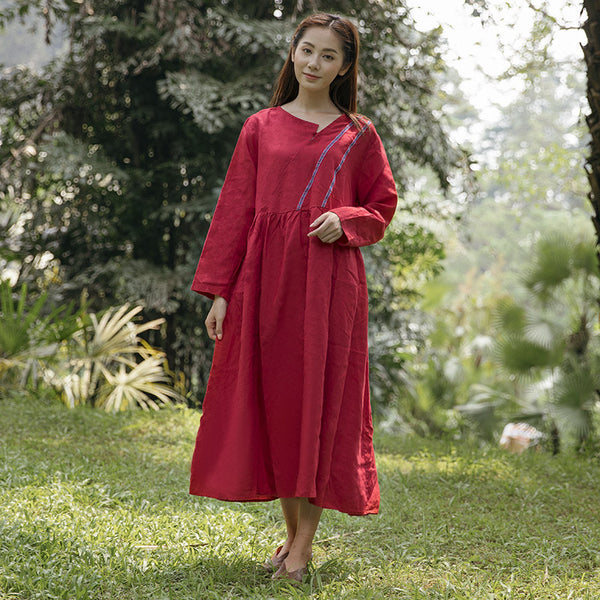 Summer Casual Loose Linen Cotton Pocket Long Sleeves Red Dress