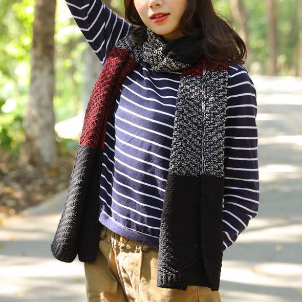 Autumn Winter Rectangle Contrast Color Stitching Knitting Scarf - Buykud