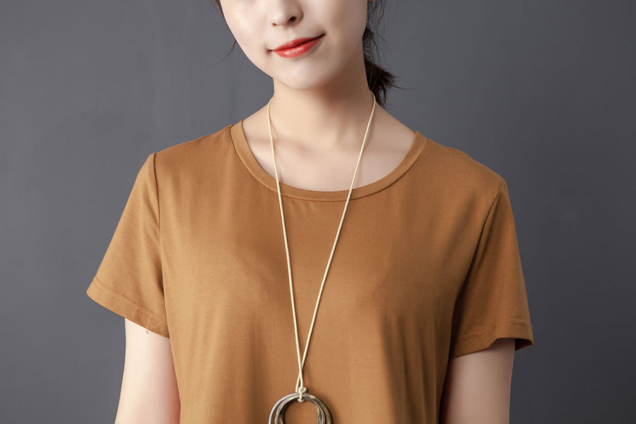 Splicing Round Neck Short Sleeve Orange Dress