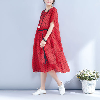 Stripe Lacing Round Neck Short Sleeve Red Dress