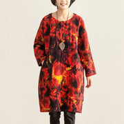 Women Loose Round Neck Long Sleeve Red Printing Dress - Buykud