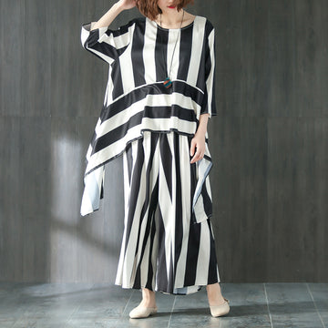 Loose Summer Suit Three Quarter Sleeve Shirt Stripe Pants - Buykud