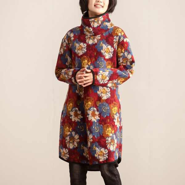 Winter Turtle Neck Long Sleeve Women Floral Printing Dress - Buykud