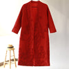 Winter Women V Neck Long Sleeve Red Woolen Coat - Buykud
