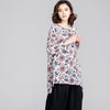 Splitting Women Irregular Loose Floral Casual Purple Shirt - Buykud