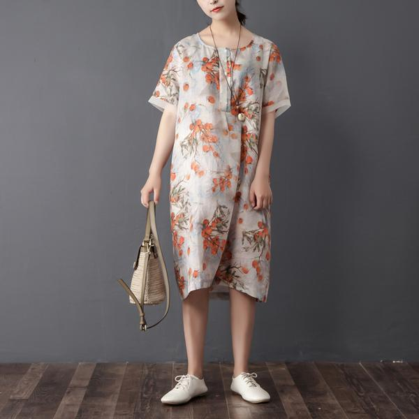 Women Retro Round Neck Short Sleeve Printed Dress