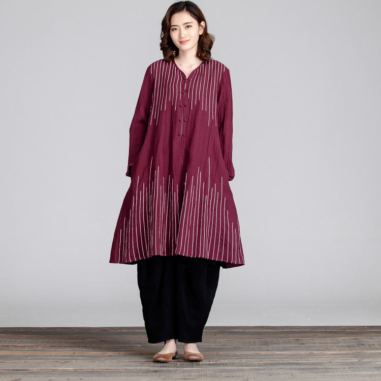 Women Spring Casual Linen Loose Red Dress - Buykud
