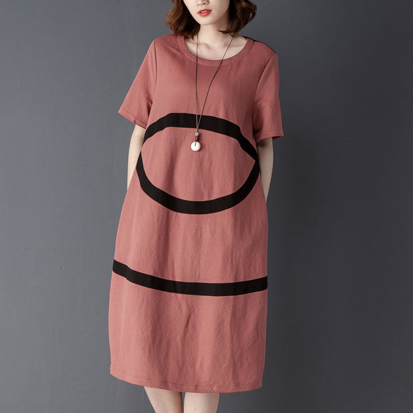 Summer Casual Round Neck Short Sleeve Dress - Buykud