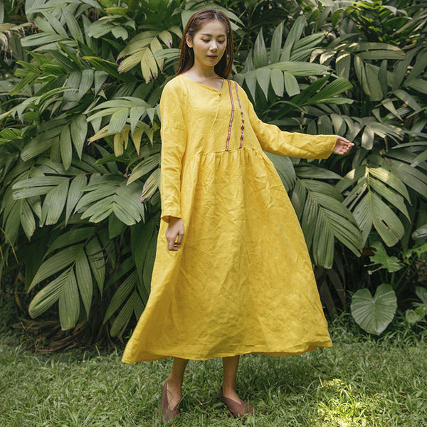 Summer Casual Loose Linen Cotton Pocket Long Sleeves Yellow Dress - Buykud