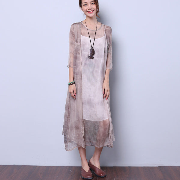 Linen Thin Pocket Slit Women Gray Dress - Buykud
