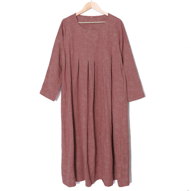 Retro Long Sleeve Embroidery Pockets Pleated Dress - Buykud