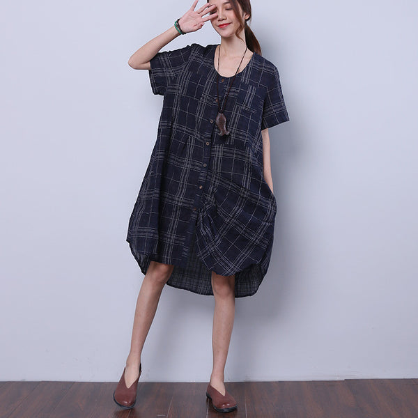 Linen Women Loose Casual Summer Splicing Irregular Lattice Blue Shirt - Buykud