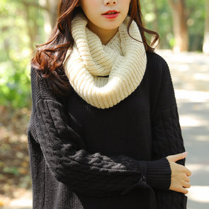 Autumn Winter Solid Color Women Warm Metallic Thread Circle Scarf - Buykud