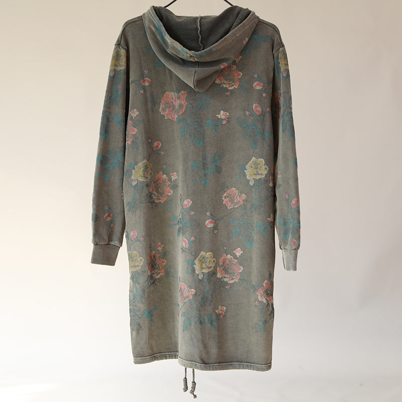 Hoodies Single Breasted Floral Printed Women Gray Coat - Buykud