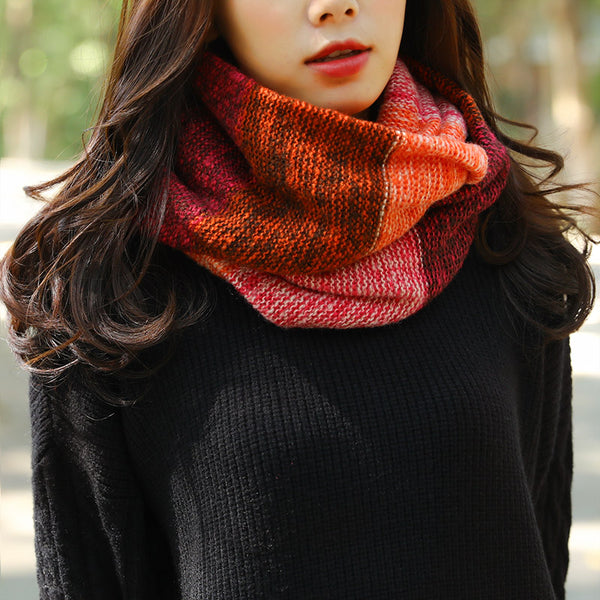 Autumn Winter Contrast Color Stitching Women Warm Circle Scarf - Buykud