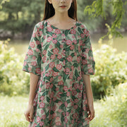 Casual Loose Retro Printing Cotton Pocket Short Sleeves Dress - Buykud