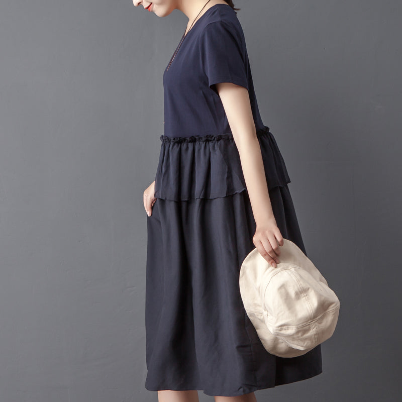 Splicing Round Neck Short Sleeve Navy Blue Dress - Buykud