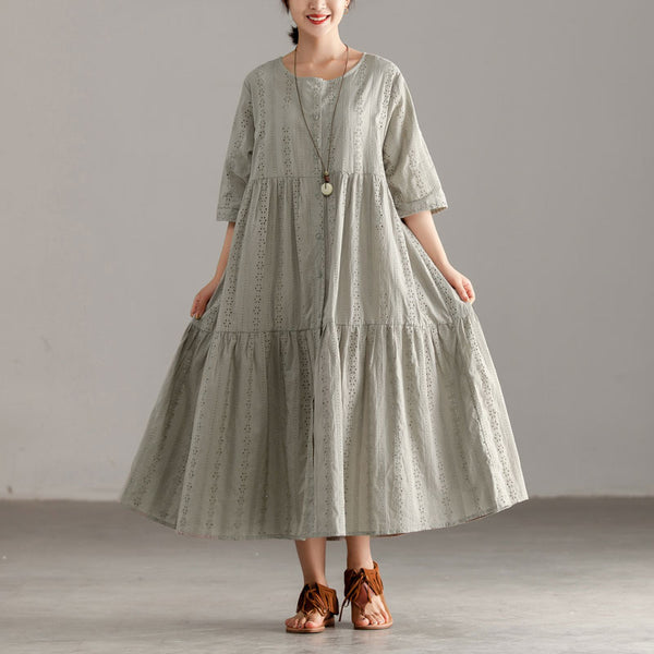 Casual Short Sleeve Gray Hollow Pleated Dress